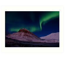 Aurora Borealis over Sarkofagen and Longyear Glacier Art Print