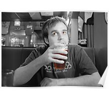 Beer Thinker (selective color) Poster