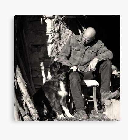 A man and his dog Canvas Print