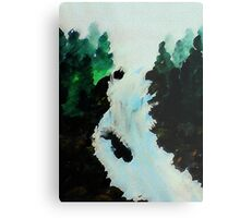 Waterfall among the Pines, watercolor Metal Print