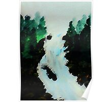 Waterfall among the Pines, watercolor Poster