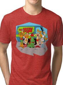 Mystery of the Universe Inc  (Scooby Doo/He-man Mash-up) Tri-blend T-Shirt