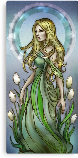 Olivia with White Tulips by AlexKujawa