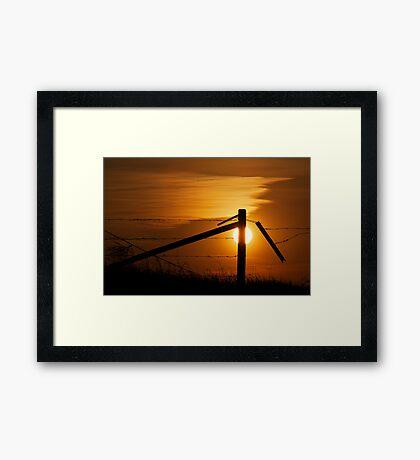 Prairie Fence At Sunset Framed Print