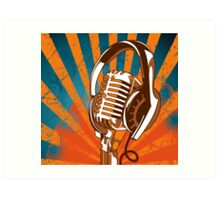 Retro Microphone/Headphones Art Print