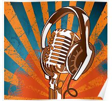 Retro Microphone/Headphones Poster