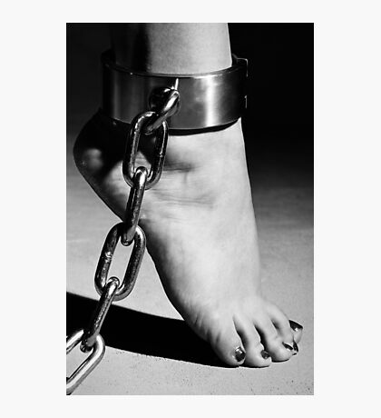 Woman Barefoot in Cuffes Photographic Print