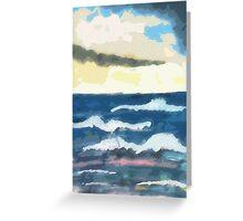 Ocean scene,  in 1/2/  pencil and Watercolor Greeting Card