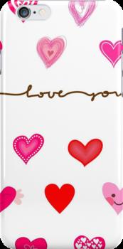 hearts (iphone case + tshirt + sticker) by Anastasiia Kucherenko