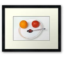 Plate and spoon with one Orange, one tomatoe, one grape Framed Print