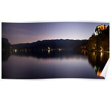 View across Lake Bled at dusk Poster