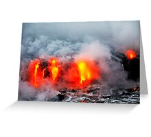Steam rising off lava flowing into ocean, Kilauea Volcano, Hawaii Islands, United States Greeting Card