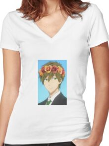 Free! Makoto flower crown Women's Fitted V-Neck T-Shirt