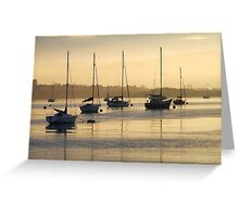 Boats sunrise Conwy Estuary North Wales UK Greeting Card