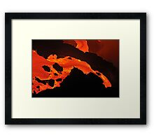 River of molten lava flowing to the sea, Kilauea Volcano, Hawaii Islands, United States Framed Print