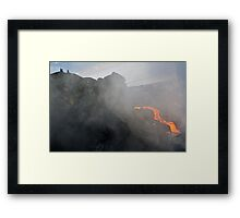 People watching river of molten lava flowing to the sea, Kilauea Volcano, Hawaii Islands, United States Framed Print