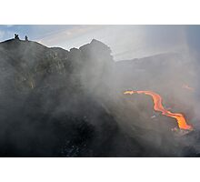 People watching river of molten lava flowing to the sea, Kilauea Volcano, Hawaii Islands, United States Photographic Print