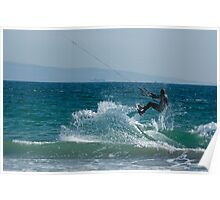 Kite surfer jumping over a wave, Playa de los Lances, Tarifa, Spain. Poster