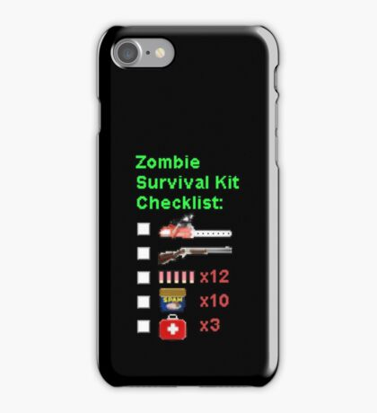 Zombie Survival Kit Checklist iPhone Case/Skin