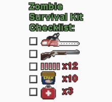 Zombie Survival Kit Checklist Kids Tee