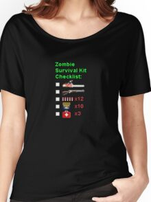 Zombie Survival Kit Checklist Women's Relaxed Fit T-Shirt