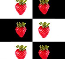 Strawberries (on checkered white & black) Cover For the Apple iPhone  by Bryan Freeman