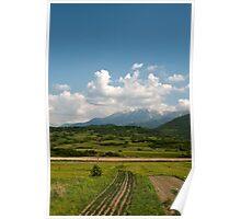 Landscape,grass,sky,mountains Poster