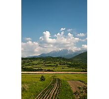 Landscape,grass,sky,mountains Photographic Print