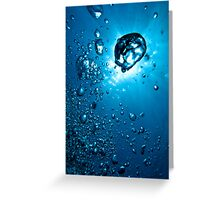 Air bubbles underwater illuminated by sunbeams, Marseille, France. Greeting Card