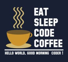 Programmer: eat sleep code coffee - hello world - light One Piece - Short Sleeve