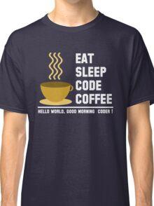Programmer: eat sleep code coffee - hello world - light Classic T-Shirt