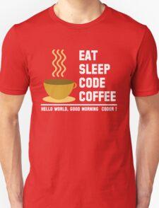 Programmer: eat sleep code coffee - hello world - light T-Shirt
