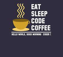 Programmer: eat sleep code coffee - hello world - light Unisex T-Shirt
