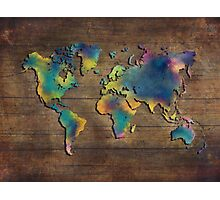 World Map wood Photographic Print