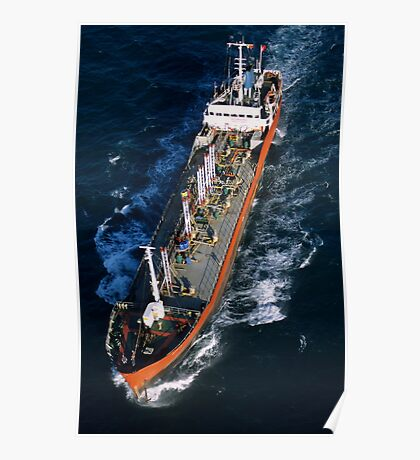 Oil tanker at sea, aerial view, Fos sur Mer, France. Poster
