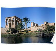 Egypt, Philae Temple, Roman Kiosk of Trajan, view across Nile river Poster