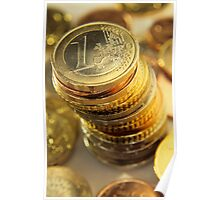 Stack Of Euros Coins Poster