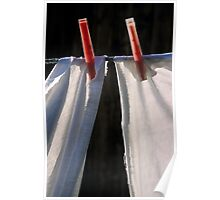 White sheets pegged on washing line, close-up Poster