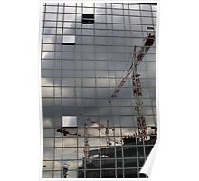 Construction cranes reflected in glass office building, Paris, France. Poster