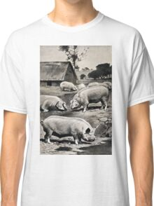 Friedrich Wilhelm Kuhnert Eight pigs on a meadow near a wallow with a thatched barn in Wellcome V0021172 Classic T-Shirt