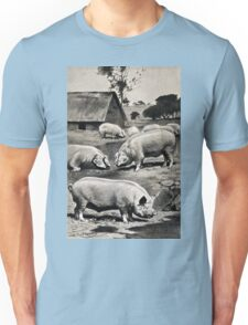 Friedrich Wilhelm Kuhnert Eight pigs on a meadow near a wallow with a thatched barn in Wellcome V0021172 Unisex T-Shirt