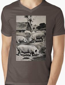 Friedrich Wilhelm Kuhnert Eight pigs on a meadow near a wallow with a thatched barn in Wellcome V0021172 Mens V-Neck T-Shirt