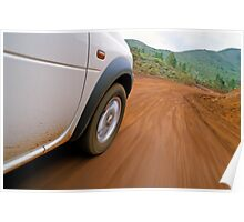 New Caledonia, Grand Terre Island, car on road (blurred motion) Poster