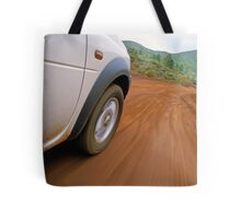 New Caledonia, Grand Terre Island, car on road (blurred motion) Tote Bag
