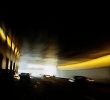 Paris Periphique, illuminated tunnel (blurred motion) by Sami Sarkis