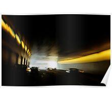 Paris Periphique, illuminated tunnel (blurred motion) Poster