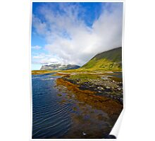 "5 ★★★★★ . Landscape from heaven. Lofoten.Gimsoystaumen Bridge. Norway. by Brown Sugar. Views (410).  thank you ! has been featured in ""Boats, Beaches, Bays!"" Poster"