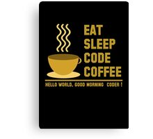 programmer : eat sleep code coffee - hello world - gold Canvas Print