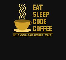 programmer : eat sleep code coffee - hello world - gold T-Shirt