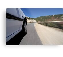 Speeding  car on road Metal Print